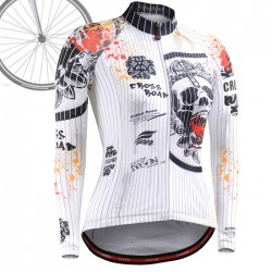 """Pinstripe Skull"" WOMAN - FIXGEAR Long Sleeve Cycling Jersey."
