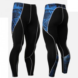 """Blue Geometry"" - FIXGEAR Second Skin Technical Compression Tights ."