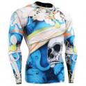 """El Esqueleto"" Full Azul - Camiseta Técnica de Compresión Segunda Piel FIXGEAR."