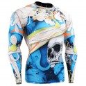"""The Skeleton"" Full Blue - FIXGEAR Second Skin Technical Compression Shirt."