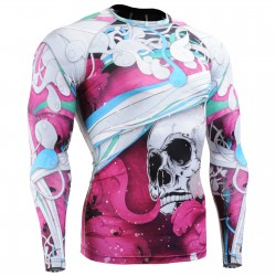 """The Skeleton"" Full Pink - FIXGEAR Second Skin Technical Compression Shirt."