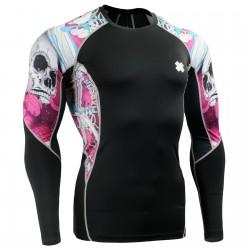 """El Esqueleto"" Rosa - Camiseta Técnica de Compresión Segunda Piel FIXGEAR."