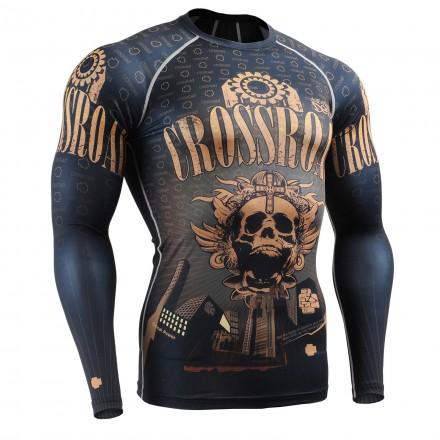 """Crossroad Skull"" Full - FIXGEAR Second Skin Technical Compression Shirt ."