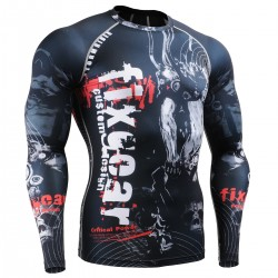 """Time Skull"" FULL -  FIXGEAR Second Skin Technical Compression Shirt - Special MMA design."