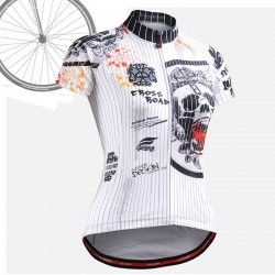 """Pinstripe Skull"" WOMAN - FIXGEAR Short Sleeve Cycling Jersey."