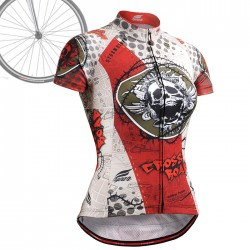 """Thorned Skull"" WOMAN - FIXGEAR Short Sleeve Cycling Jersey."