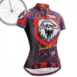 """Skull Star"" WOMAN - FIXGEAR Short Sleeve Cycling Jersey."