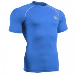 """BULE FIX"" Short Sleeve Cyan Blue - FIXGEAR Second Skin Technical Compression Shirt ."