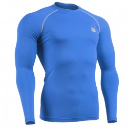"""BLUE FIX"" Long Sleeve Cyan Blue - FIXGEAR Second Skin Technical Compression Shirt ."