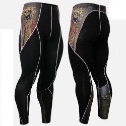 """Crossroad Skull"" - FIXGEAR Second Skin Technical Compression Tights ."