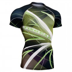 """Grid Birds"" Short Sleeve - FIXGEAR Second Skin Technical Compression Shirt ."