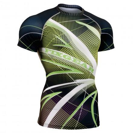 """Grid Birds"" Short Sleeve - FIXGEAR Second Skin Technical Compression Shirt ."