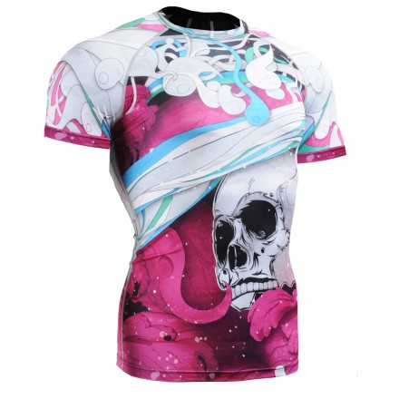 """""""The Skeleton"""" Full Pink Short Sleeve - FIXGEAR Second Skin Technical Compression Shirt."""
