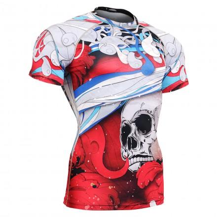 """El Esqueleto"" Full Rojo Manga Corta - Camiseta Técnica de Compresión Segunda Piel FIXGEAR."