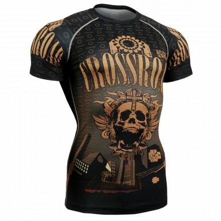 """Crossroad Skull"" Full Short Sleeve - FIXGEAR Second Skin Technical Compression Shirt ."