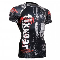 """Time Skull"" FULL Short Sleeve -  FIXGEAR Second Skin Technical Compression Shirt - Special MMA design."