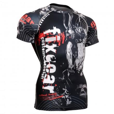 """""""Calavera en el Tiempo"""" FULL Manga Corta- Camiseta Correr/Entrenar/MMA Segunda Piel FIXGEAR."""