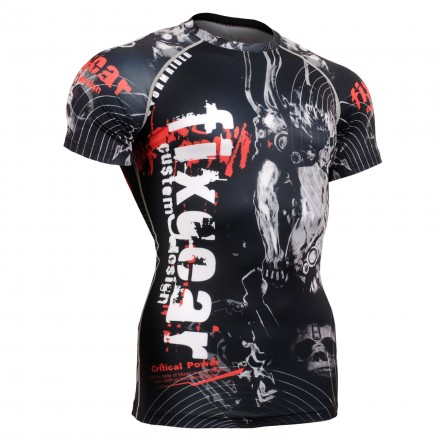 """""""Time Skull"""" FULL Short Sleeve -  FIXGEAR Second Skin Technical Compression Shirt - Special MMA design."""