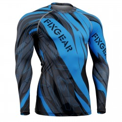 """Splinters"" FULL Cyan Blue - FIXGEAR Second Skin Technical Compression Shirt ."