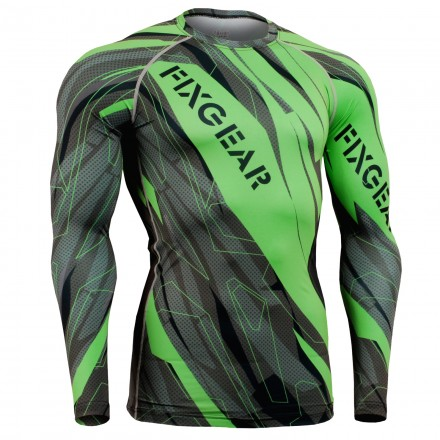 """Astillas"" FULL Verde - Camiseta Técnica de Compresión Segunda Piel FIXGEAR."
