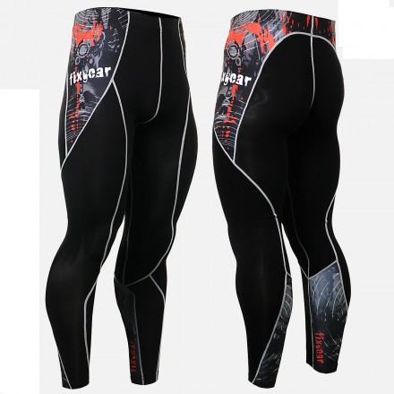 """Time Skull"" - FIXGEAR Second Skin Technical Compression Tights ."