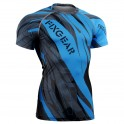 """Splinters"" FULL Cyan Blue - FIXGEAR Short Sleeve Technical Compression Shirt ."