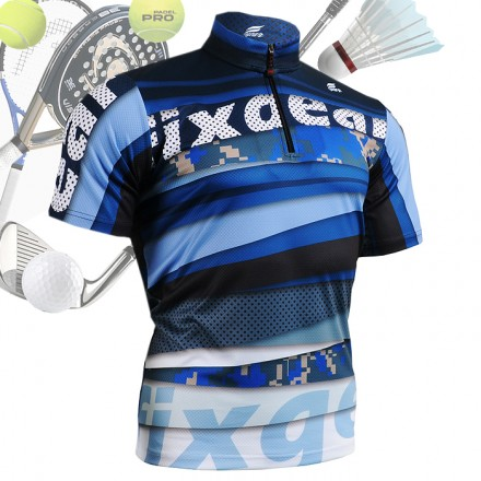 """Digital Blue"" - FIXGEAR Short Sleeve 1/4 Zip-up Casual Polo"