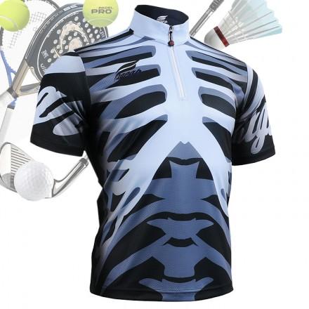 """Bones"" - FIXGEAR Short Sleeve 1/4 Zip-up Casual Polo"