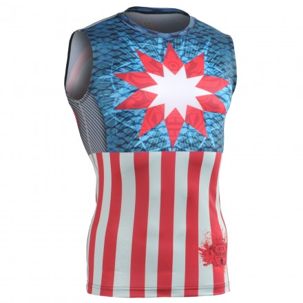 """Americanada"" Sleeveless - FIXGEAR Second Skin Technical Compression Shirt ."