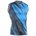 """Splinters"" Cyan Sleeveless - FIXGEAR Second Skin Technical Compression Shirt ."