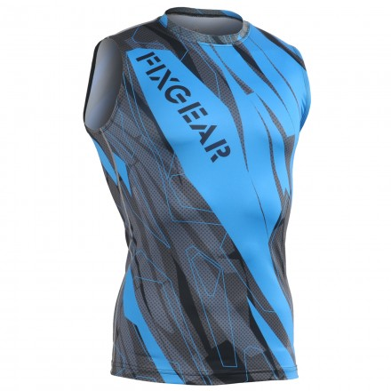 """Splinters"" Cyan Azul SIN Mangas - Camiseta Técnica de Compresión Segunda Piel FIXGEAR."