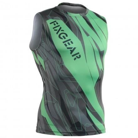 """Splinters"" Green Sleeveless - FIXGEAR Second Skin Technical Compression Shirt ."