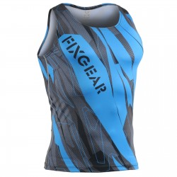 """Splinters"" Cyan Tank Top - FIXGEAR Second Skin Technical Compression Shirt ."
