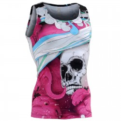 """The Skelton"" Pink Tank Top - FIXGEAR Second Skin Technical Compression Shirt ."