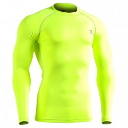 """GREEN FIX FLUOR"" Long Sleeve - FIXGEAR Second Skin Technical Compression Shirt ."