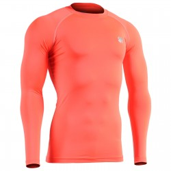 """ORANGE FIX FLUOR"" Long Sleeve - FIXGEAR Second Skin Technical Compression Shirt ."