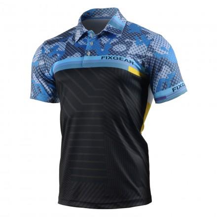 """""""DIGITAL BLUE"""" - FIXGEAR Short Sleeve 3 Button Casual & Technical Polo"""