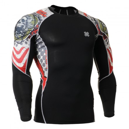 """""""Thorned Skull """" Black - FIXGEAR Second Skin Technical Compression Shirt ."""