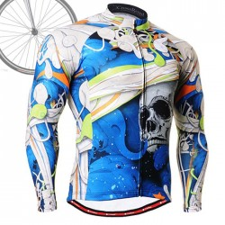 """The Skeleton"" Blue - FIXGEAR Long Sleeve Cycling Jersey."