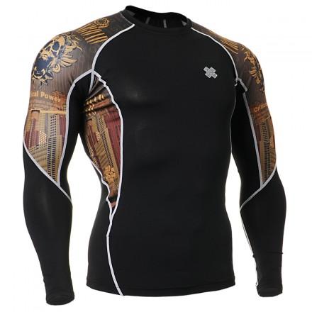 """Crossroad Skull"" - FIXGEAR Second Skin Technical Compression Shirt ."