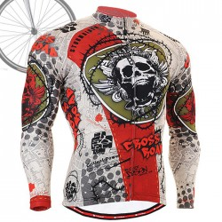 """Thorned Skull"" - FIXGEAR Long Sleeve Cycling Jersey."
