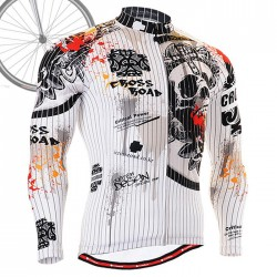 """Pinstripe Skull"" - FIXGEAR Long Sleeve Cycling Jersey."