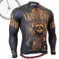 """Crossroad Skull"" - FIXGEAR Long Sleeve Cycling Jersey."