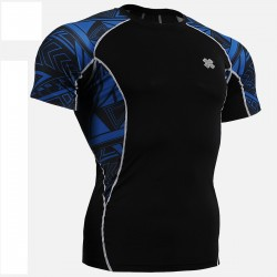 """Blue Geometry"" - FIXGEAR Short Sleeve Second Skin Technical Compression Shirt ."
