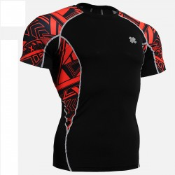 """Red Geometry"" - FIXGEAR Short Sleeve Second Skin Technical Compression Shirt ."