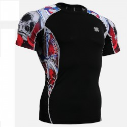 """The Skeleton"" Red - FIXGEAR Short Sleeve Second Skin Technical Compression Shirt."