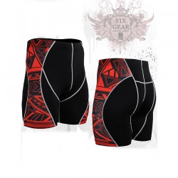 """Red Geometry"" - FIXGEAR Second Skin Technical Compression Shorts ."