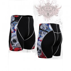 """The Skeleton"" Red - FIXGEAR Second Skin Technical Compression Shorts ."