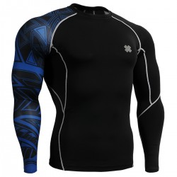 """Uni Geometría Azul"" - Camiseta Técnica de Compresión Segunda Piel FIXGEAR."