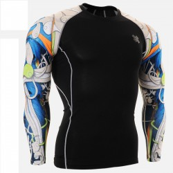 """""""Blue Duo Insides"""" - FIXGEAR Second Skin Technical Compression Shirt - Blue."""